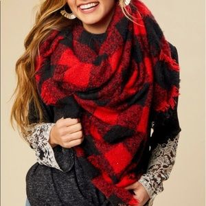 Altar'd State Red and Black Buffalo Plaid Scarf